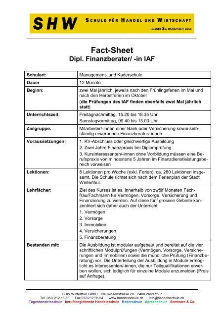 Fact sheet dipl finanzberater in iaf shw for Iaf finanzberater