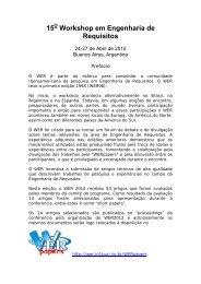 15 Workshop em Engenharia de Requisitos - WER - PUC-Rio