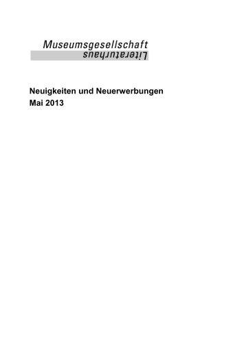 Neuigkeiten und Neuerwerbungen Mai 2013 - Das Literaturhaus