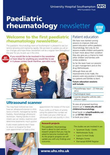 Paediatric rheumatology newsletter issue 1