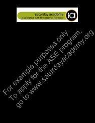 ASE Preliminary Application - Saturday Academy