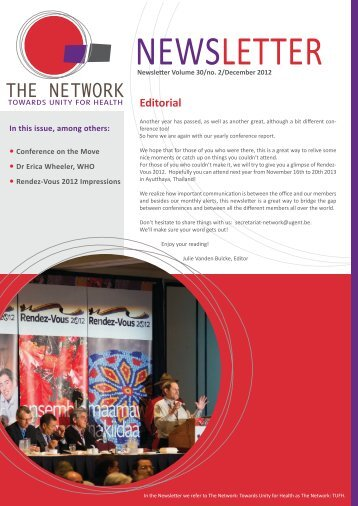 Newsletter 2012-2.pdf - The network - Towards Unity For Health