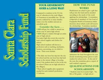 Guatemala Scholarship Brochure - St. Clare of Assisi