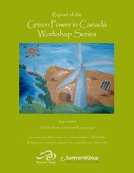 Report of the Green Power in Canada Workshop ... - Pollution Probe