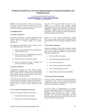 IP Based Virtual Private Network Implementation on ... - SZABIST