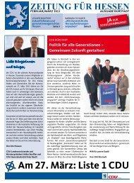 Am 27. März: Liste 1 CDU - CDU Stadtverband Bürstadt
