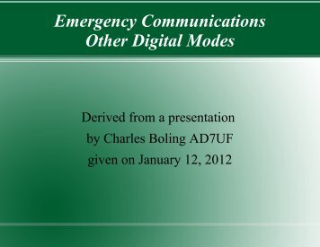 Emergency Communications Other Digital Modes - Cascade ...