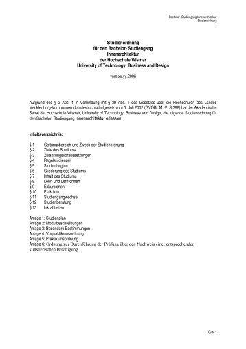 Innenarchitektur Bachelor studienordnung für den bachelor studiengang innenarchitektur der