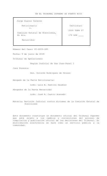 2009 TSPR 97 - Rama Judicial de Puerto Rico