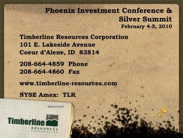 February 4-5, 2010 - Timberline Resources Corporation