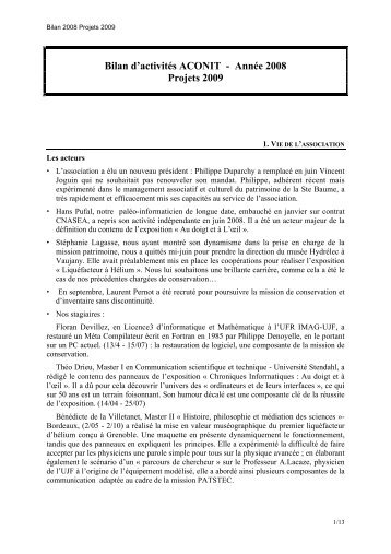 Bilan d'activités ACONIT - Année 2008 Projets 2009