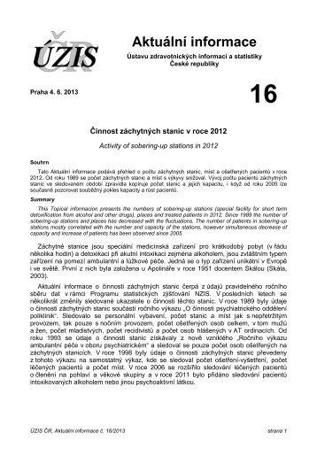 Aktuální informace č. 16/2013 - ÚZIS ČR