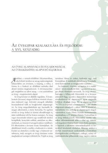 az üvegipar kialakulása és fejlődése a xvi . századig - Herman Ottó ...
