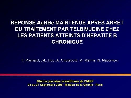 Réponse AgHBe maintenue après arrêt du traitement par - Afef
