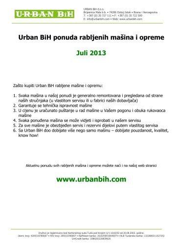 Katalog rabljenih mašina i opreme Juli 2013 (pdf) - URBAN BIH