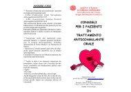 consigli per i pazienti in trattamento anticoagulante orale - SIFO