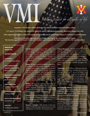 Facts and Figures About VMI - Virginia Military Institute