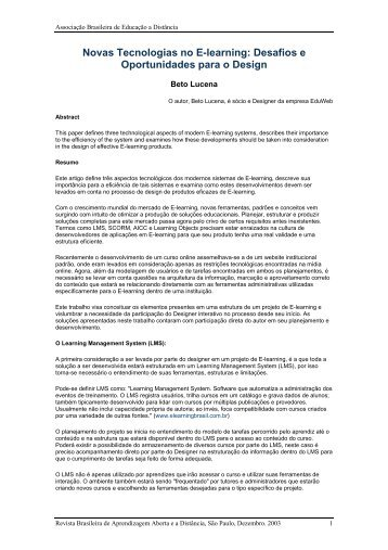Novas Tecnologias no E-learning: Desafios e Oportunidades ... - Abed