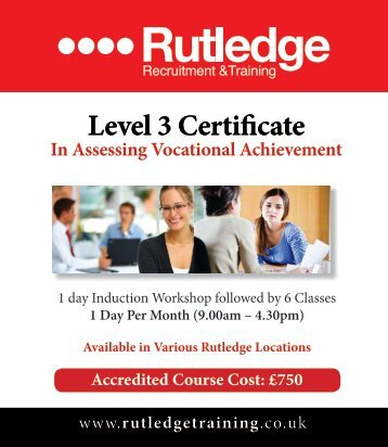 Level 3 Certificate In Assessing Vocational Achievement - Training