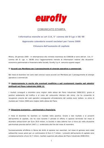 COMUNICATO STAMPA - Meridiana