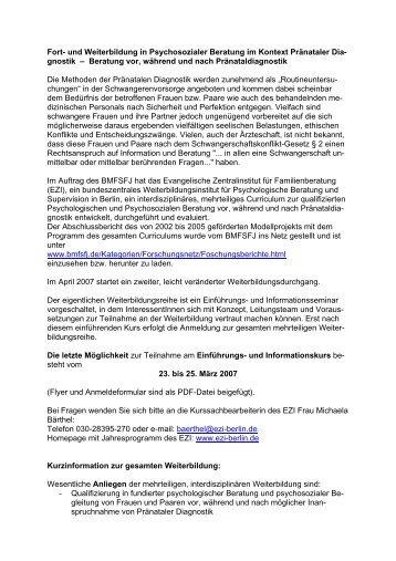Fort- und Weiterbildung in Psychosozialer Beratung im ... - DGPFG