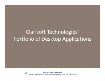 Clarisoft Technologies' Portfolio of Desktop Applications