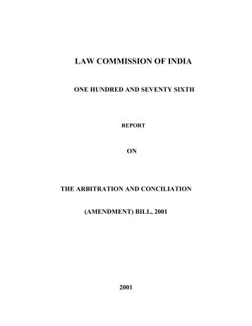 176th Report On The Arbitration And Conciliation Amendment Bill