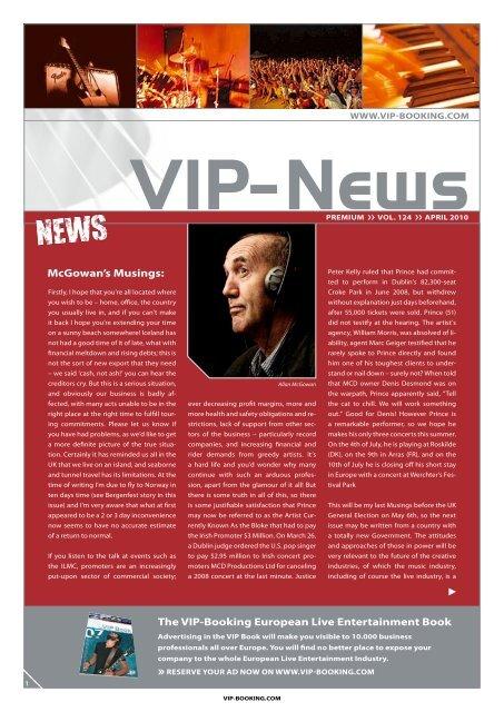 McGowan's Musings: The VIP-Booking european live entertainment ...