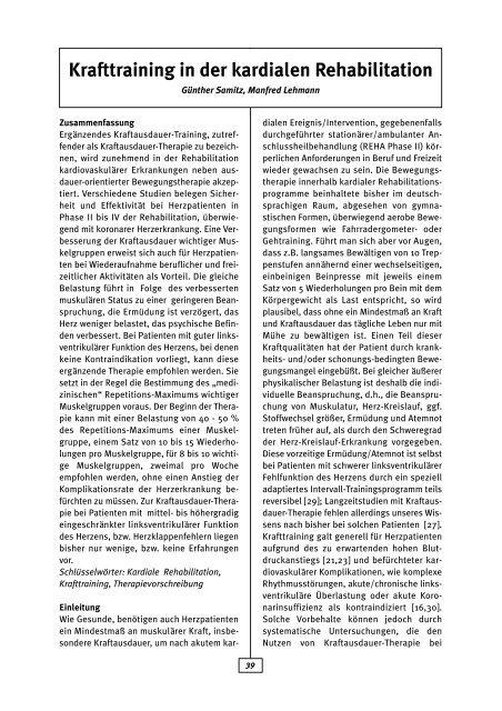 Krafttraining in der kardialen  Rehabilitation - AGAKAR