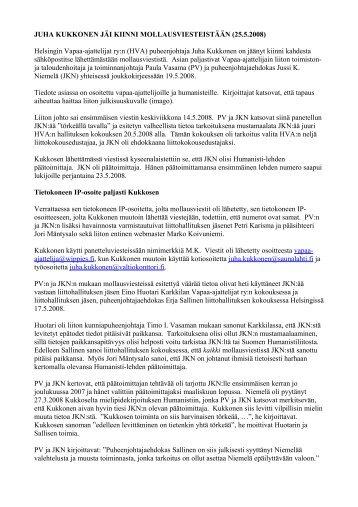kesäkuun 2008 liittokokouksessa - Pääkaupunkiseudun ateistit ry