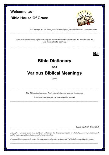 Ba Bible Dictionary Various Biblical Meanings - Bible House of Grace