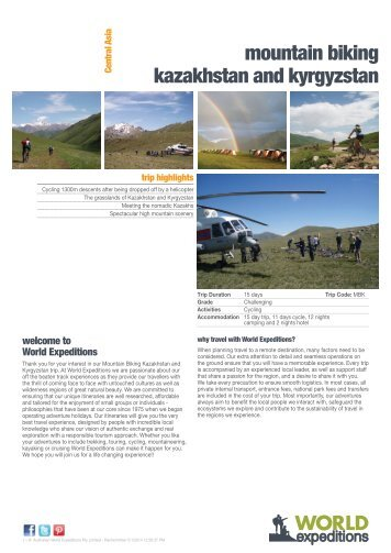 mountain biking kazakhstan and kyrgyzstan - World Expeditions
