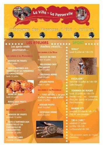 Programme de juillet 2012 du centre social Â« La Villa - La Passerelle