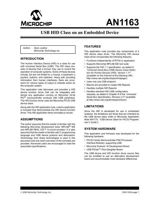 Microchip Application Note AN1163, USB HID Class on an