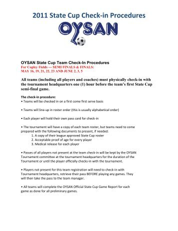 2011 State Cup Check-in Procedures - Ohio Youth Soccer ...