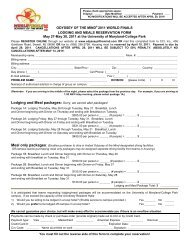 Lodging & Meal Reservation Form - Odyssey of the Mind
