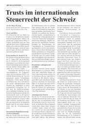 Trusts im internationalen Steuerrecht der Schweiz