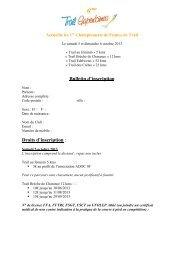 Bulletin d'inscription Droits d'inscription :