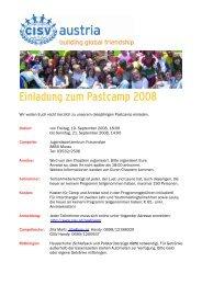 Einladung zum Pastcamp 2008 - CISV