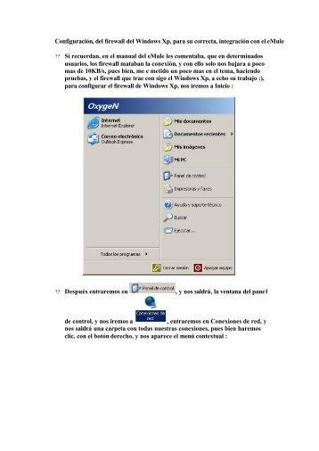 Configuración, del firewall del Windows Xp, para ... - Mundo Manuales