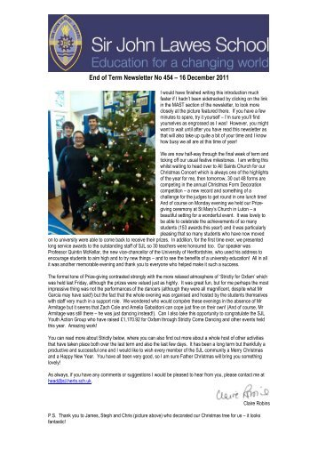 End of Term Newsletter - Sir John Lawes School