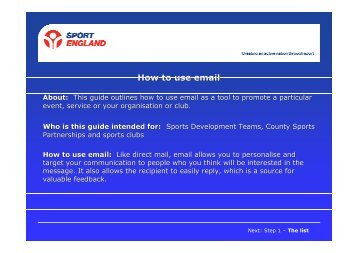 How to use email for promotion - VicSport