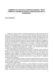 """commento all'articolo di antonio zanardo: """"regia formativa ... - Dialoghi"""