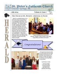 Newsletter - St. Peters Evangelical Lutheran Church