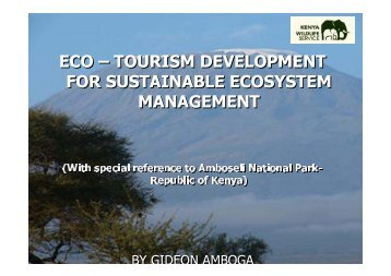 eco – tourism development for sustainable ecosystem management