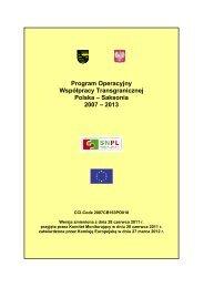 Program Operacyjny Współpracy ... - Polen 2007-2013