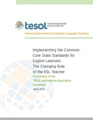 Implementing the Common Core State Standards for ... - TESOL