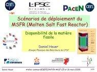 Scénarios de déploiement du MSFR (Molten Salt Fast ... - gedepeon
