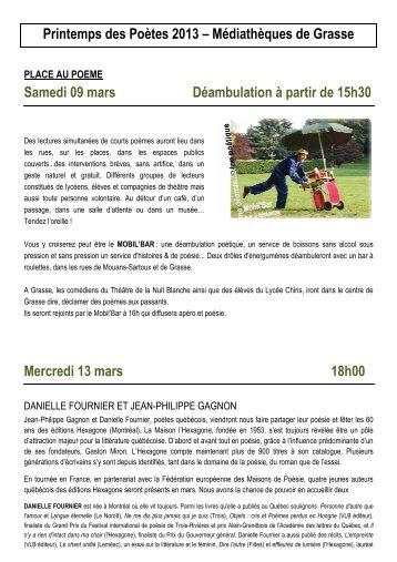 Printemps des Poètes 2013 - Bibliothèque et Médiathèques de la ...