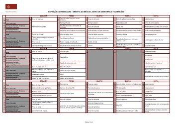Ementas cantinas 2009 - Serviços de Acção Social da Universidade ...